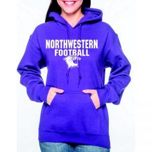 Northwestern University Wildcats Purple Hooded Sweatshirt with Northwestern Football Wildcat Design