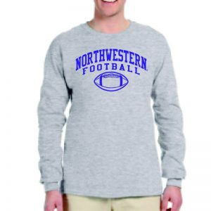 Northwestern University Wildcats Grey Long Sleeve Tee Shirt with Northwestern Football Design