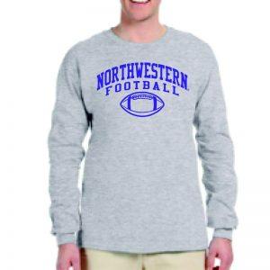 Northwestern University Wildcats Grey Long Sleeve Tee Shirt with Northwestern Football Design