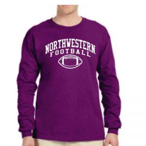 Northwestern University Wildcats Purple Long Sleeve Tee Shirt with Northwestern Football Design