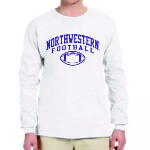 Northwestern University Wildcats White Long Sleeve Tee Shirt with Northwestern Football Design