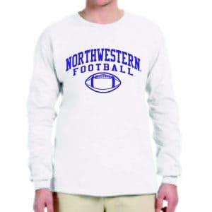 Northwestern University Wildcats White Long Sleeve Tee Shirt with Northwestern Football Design