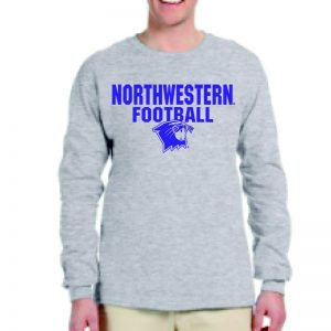 Northwestern University Wildcats Grey Long Sleeve Tee Shirt with Football Wildcat Design