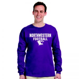 Northwestern University Wildcats Purple Long Sleeve Tee Shirt with Football Wildcat Design