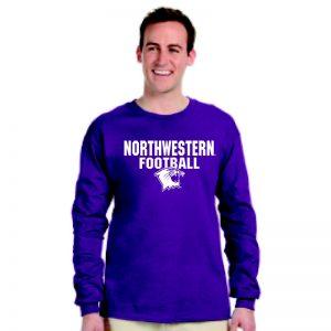 Northwestern University Wildcats Purple Long Sleeve Tee Shirt with Football Wildcat Design