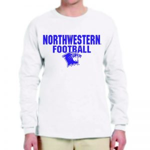 Northwestern University Wildcats White Long Sleeve Tee Shirt with Football Wildcat Design