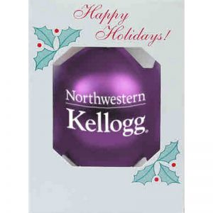 "Northwestern University Wildcats Traditional Shatterproof Purple Bulb Ornament with Kellogg Design 3 1/4"""