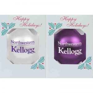 """Northwestern University Wildcats Traditional Shatterproof Bulb Ornament Set of Two with Kellogg Design 3 1/4"""""""