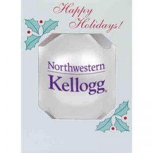 "Northwestern University Wildcats Traditional Shatterproof White Bulb Ornament with Kellogg Design 3 1/4"""