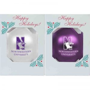 """Northwestern University Wildcats Traditional Shatterproof Bulb Ornament Set of Two with N-Cat Northwestern Design 3 1/4"""""""