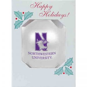 """Northwestern University Wildcats Traditional Shatterproof White Bulb Ornament with N-Cat Design 3 1/4"""""""