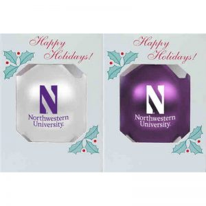 """Northwestern University Wildcats Traditional Shatterproof Bulb Ornament Set of Two with Stylized N Northwestern Design 3 1/4"""""""
