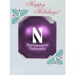 "Northwestern University Wildcats Traditional Shatterproof Purple Bulb Ornament with Stylized N Northwestern Design 3 1/4"""