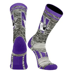 Northwestern University Wildcats Adult Heather With Purple Accent Athletic Performance Crew Socks With N-Cat Design