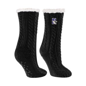 Northwestern University Wildcats Black Miss Chalet Dual Layered Lounge Sock