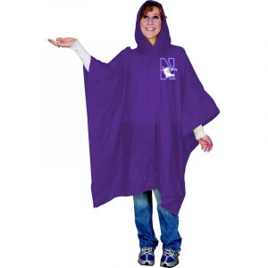 Northwestern Wildcats Medium Weight Adult Purple Rain Poncho N-Cat Design