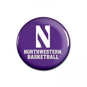 """Northwestern Wildcats Button with Northwestern Basketball Design 1.75"""""""