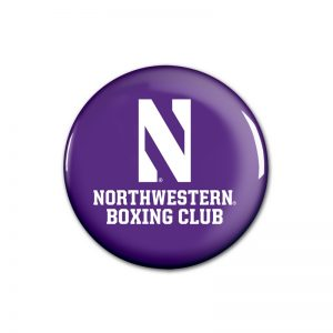 "Northwestern Wildcats Button with Northwestern Boxing Design 1.75"""