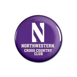"Northwestern Wildcats Button with Northwestern Cross Country Design 1.75"""