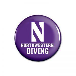 """Northwestern Wildcats Button with Northwestern Diving Design 1.75"""""""