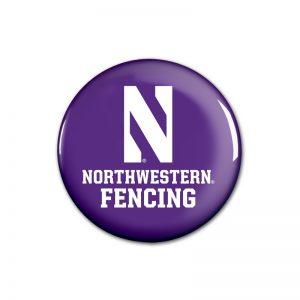 """Northwestern Wildcats Button with Northwestern Fencing Design 1.75"""""""