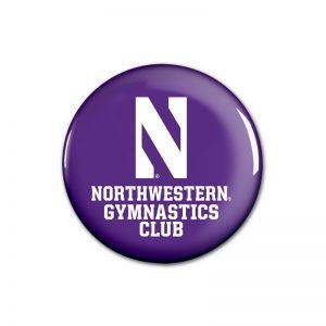"""Northwestern Wildcats Button with Northwestern Gymnastics Design 1.75"""""""