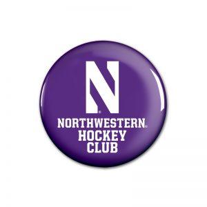 """Northwestern Wildcats Button with Northwestern Hockey Design 1.75"""""""