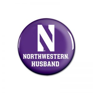 """Northwestern Wildcats Button with Northwestern Husband Design 1.75"""""""