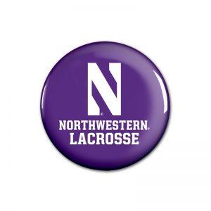"""Northwestern Wildcats Button with Northwestern Lacrosse Design 1.75"""""""