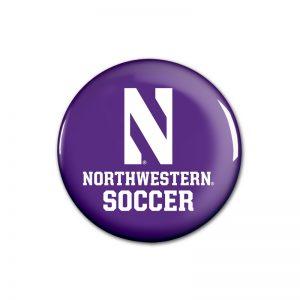 """Northwestern Wildcats Button with Northwestern Soccer Design 1.75"""""""