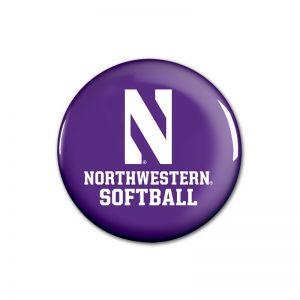 """Northwestern Wildcats Button with Northwestern Softball Design 1.75"""""""