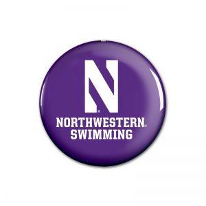 """Northwestern Wildcats Button with Northwestern Swimming Design 1.75"""""""