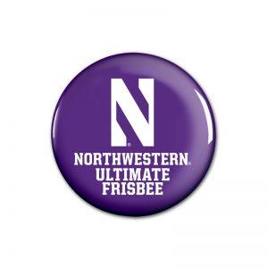 """Northwestern Wildcats Button with Northwestern Ultimate Frisbee Design 1.75"""""""