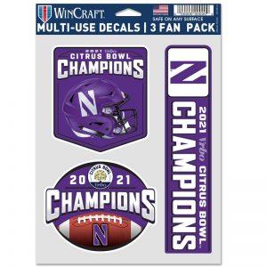 Northwestern University Wildcats Citrus Bowl 2021 Champions 3 Pack Decals