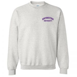 Northwestern University Wildcats Men's Ash Grey Crewneck Sweatshirt with Left Chest Embroidered Northwestern University Design