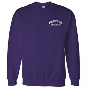 Northwestern University Wildcats Men's Purple Crewneck Sweatshirt with Left Chest Embroidered Northwestern University Design