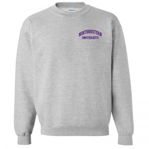 Northwestern University Wildcats Men's Sport Grey Crewneck Sweatshirt with Left Chest Embroidered Northwestern University Design
