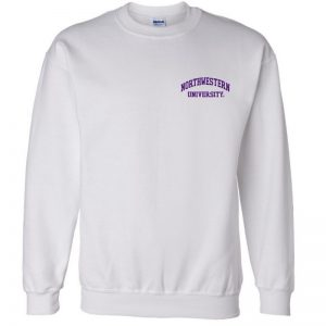 Northwestern University Wildcats Men's White Crewneck Sweatshirt with Left Chest Embroidered Northwestern University Design