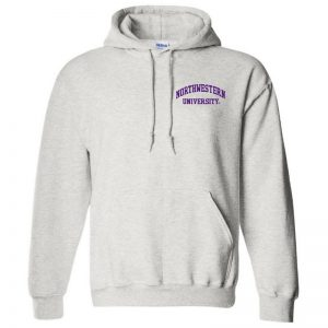 Northwestern University Wildcats Men's Ash Grey Hooded Sweatshirt with Left Chest Embroidered Northwestern University Design