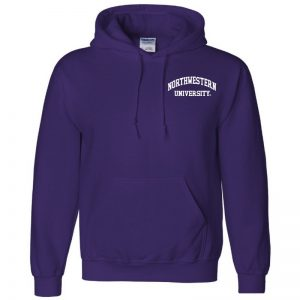 Northwestern University Wildcats Men's Purple Hooded Sweatshirt with Left Chest Embroidered Northwestern University Design