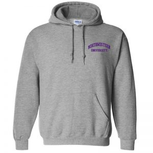 Northwestern University Wildcats Men's Sport Grey Hooded Sweatshirt with Left Chest Embroidered Northwestern University Design