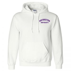 Northwestern University Wildcats Men's White Hooded Sweatshirt with Left Chest Embroidered Northwestern University Design