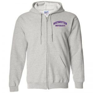 Northwestern University Wildcats Men's Ash Grey Full-Zip Hooded Sweatshirt with Left Chest Embroidered Northwestern University Design