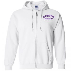 Northwestern University Wildcats Men's White Full-Zip Hooded Sweatshirt with Left Chest Embroidered Northwestern University Design