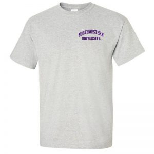 Northwestern University Wildcats Men's Ash Grey Short Sleeve Tee Shirt with Left Chest Embroidered Northwestern University Design