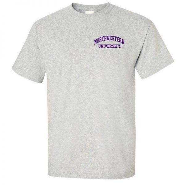Northwestern University Wildcats Men's Ash Grey Short Sleeve Tee Shirt with Left Chest Embroidered Northwestern University Design