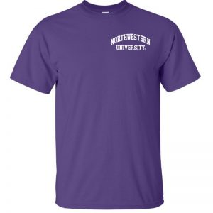 Northwestern University Wildcats Men's Purple Short Sleeve Tee Shirt with Left Chest Embroidered Northwestern University Design