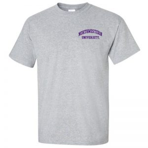 Northwestern University Wildcats Men's Sport Grey Short Sleeve Tee Shirt with Left Chest Embroidered Northwestern University Design