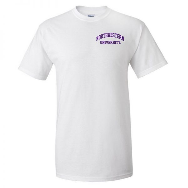 Northwestern University Wildcats Men's White Short Sleeve Tee Shirt with Left Chest Embroidered Northwestern University Design