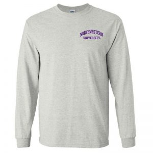 Northwestern University Wildcats Men's Ash Grey Long Sleeve Tee Shirt with Left Chest Embroidered Northwestern University Design